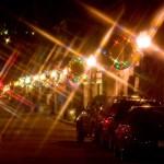 Holiday lights on Main Street.