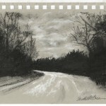 sketch of trail and trees and overcast sky