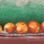 pastel painting of clementines on shelf