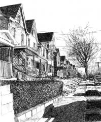 Library Avenue, ink sketch