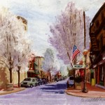 Pear Trees on Main Street, pastel, 10 x 12, 2003 © Bernadette E. Kazmarski