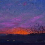 """Coral Sunset"" pastel on self-prepared board, 11"" x 8"" © Bernadette E. Kazmarski"