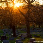 cemetery at sunset