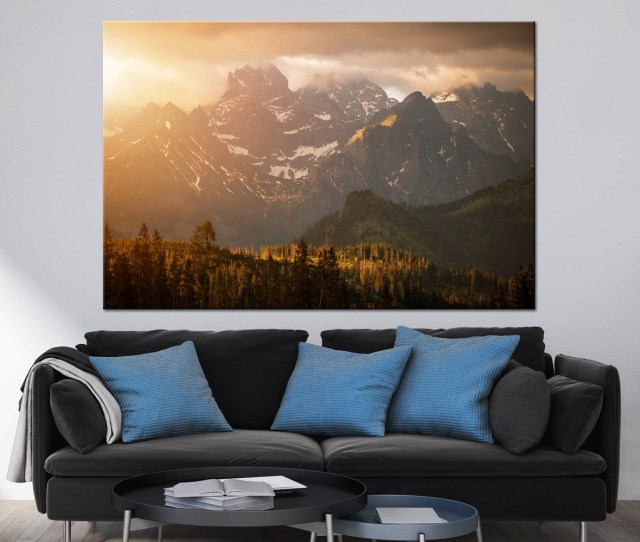Mountains Sunset Scenery Photoprint Multi Panel Canvas Print Wild For Most Current Extra Large Wall Art