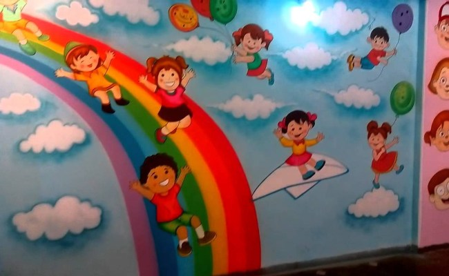 Fantastic Preschool Wall Painting Images Decoration Ideas