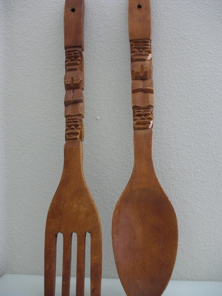 Large Wooden Fork And Spoon Wall Decor