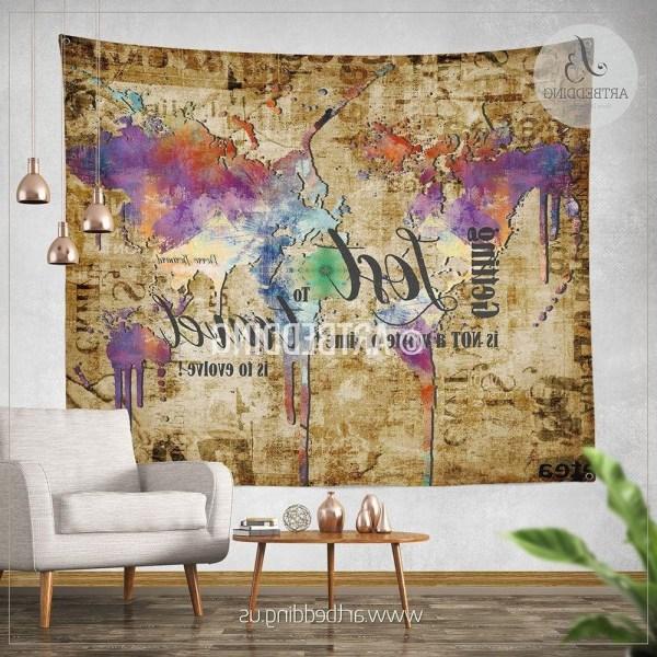 World Map Fabric Wall Hanging