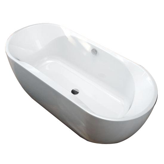 baignoire ilot selena 180x80cm blanc avec vidage remplissage leda ref l16sei1880r