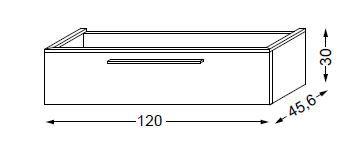 Meuble Sous Table Halo En Melamine Sans Led Pour Double Vasque 120 Cm 1 Tiroir Sanijura Ref 115243