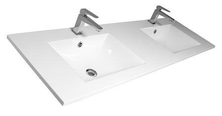 plan vasque ceramique double luna 120cm blanc decotec ref 1790341