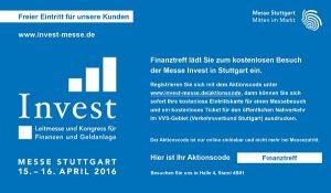 Freie Eintrittskarte zur Invest 2016