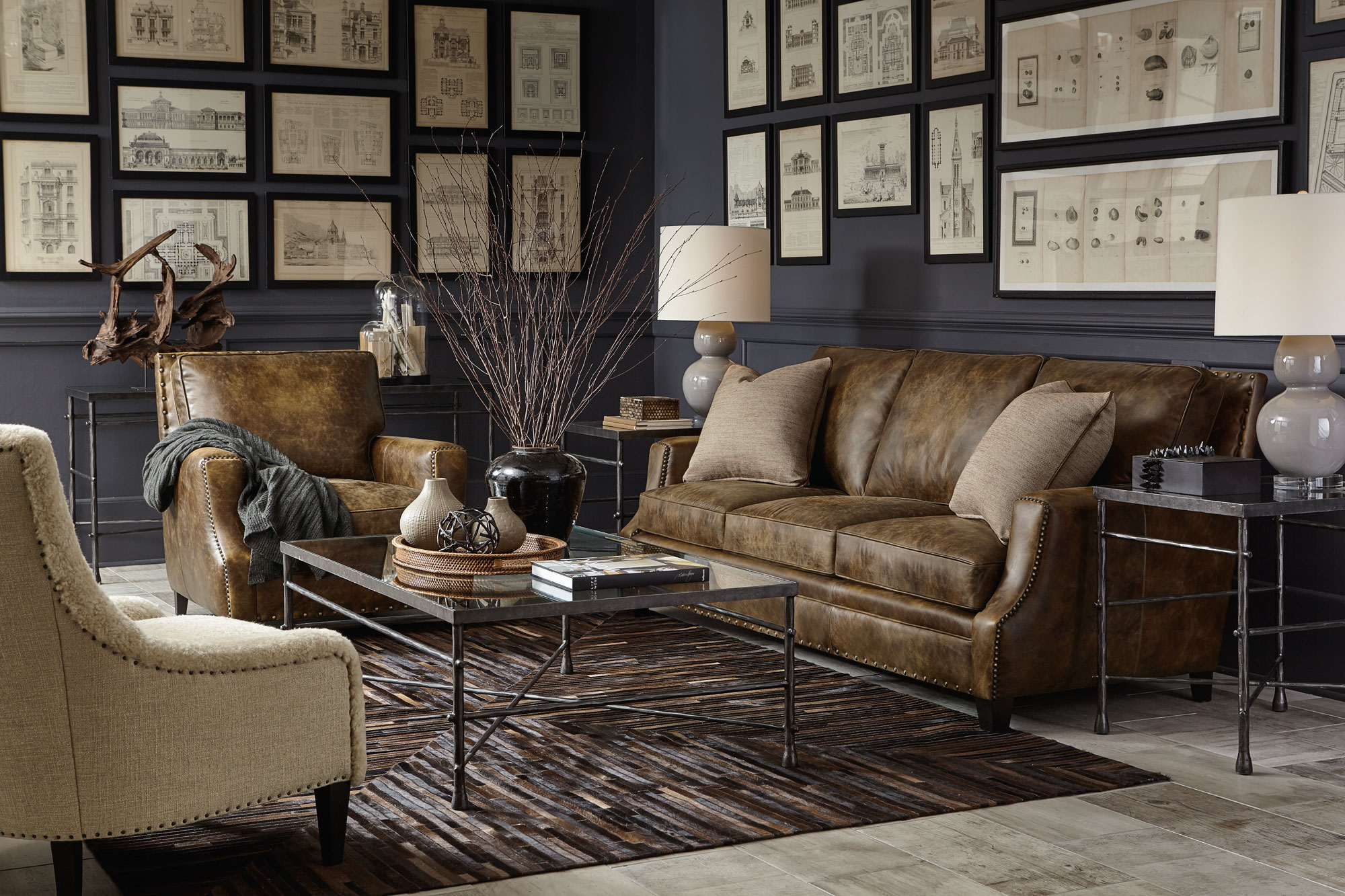 accent chairs to go with brown leather sofa 3 cushion slipcovers canada pollard living room bernhardt