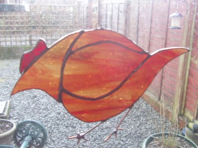 stained glass hen
