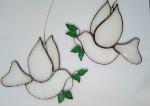 doves of peace, stained glass suncatchers, christmas decorations