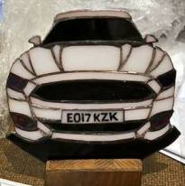 personalised, free standing glass mustang, solid wood base