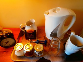 tea tray in guest room