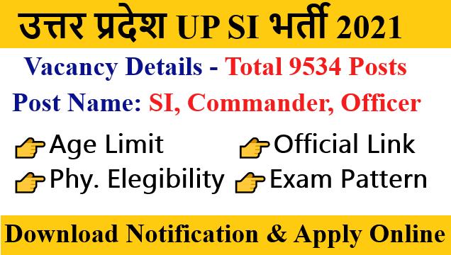 Uttar Pradesh UP Sub inspector SI Vacancy 2021 Online form details notification Apply Online Form