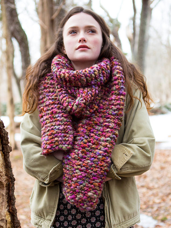 Wood Lily free super scarf knitting pattern in Berroco Gusto