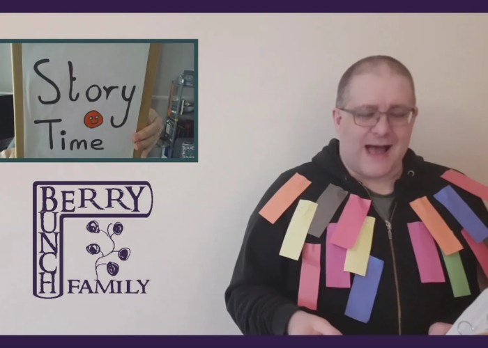 Story Time with Andy B and a multi-coloured dressing gown