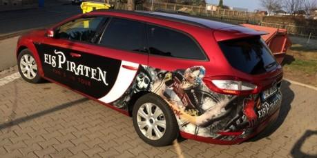 Car Wrapping, Folierung, Eispiraten Crimmitschau, Autowerbung Eispiraten, Werbung Eispiraten, Digitaldruck