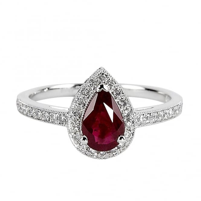 Platinum Pear Shaped Ruby And Diamonds Ring From Berrys
