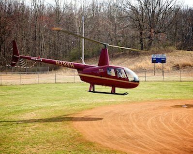 Helicopter lands at Waverly Yowell