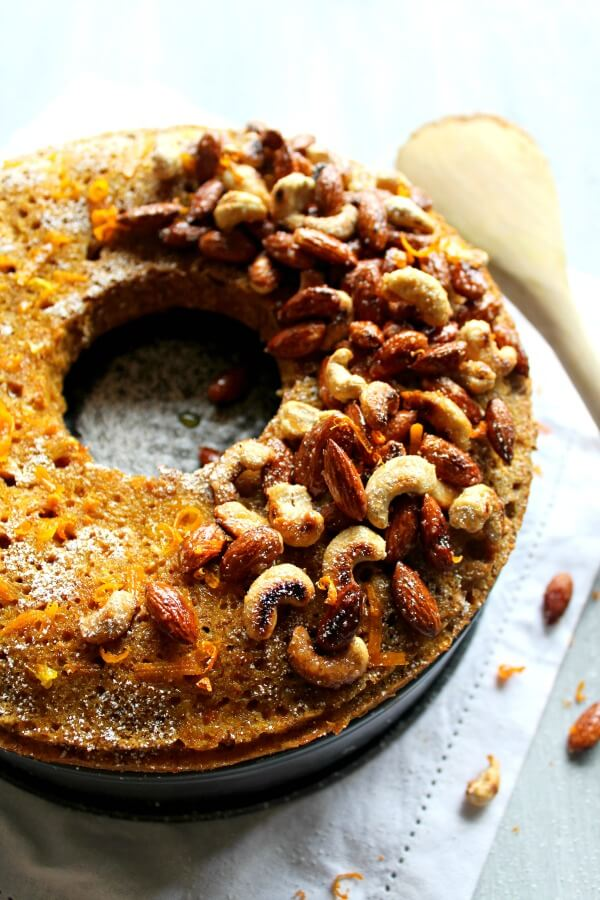 Butternut Bundt Cake with Orange Glaze & Toasted Nuts. Completely delicious butternut cake made with wholewheat flour & reduced sugar. Dense & perfectly moist, amazing thanksgiving cake. Perfect holiday sweet treat! | berrysweetlife.com