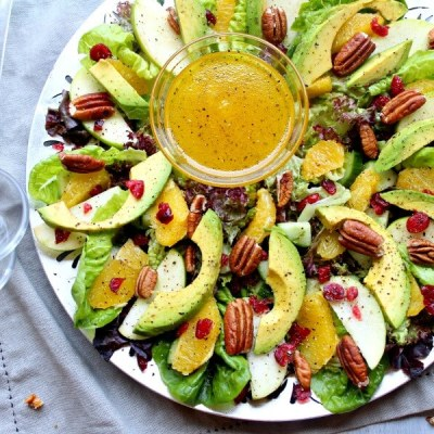 Pecan Cranberry & Avocado Salad with Orange Dressing