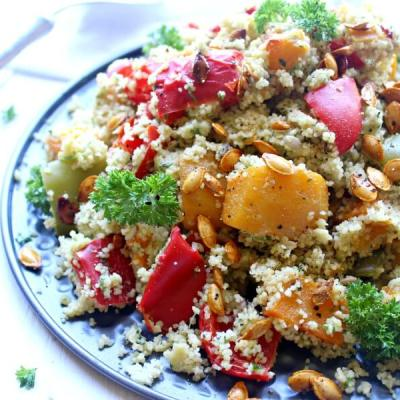 Roasted Butternut Cous Cous Salad with Pesto Dressing