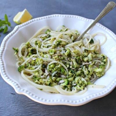 Fresh Lemon Basil Broccoli Spaghetti