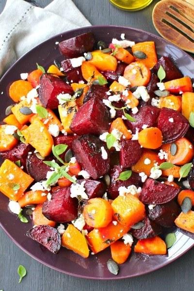 Roast Beet Butternut Basil Goat Cheese Salad