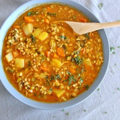 Baked Chicken Barley Kale Stew