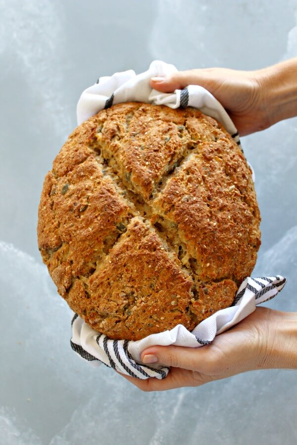 No Knead Multi-Seed Potato Bread. An incredibly easy bread to make, crunchy on the outside, moist, soft & fluffy on the inside. Very flavourful & healthy! | berrysweetlife.com