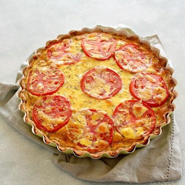 Easy Cheese Crust Tomato Quiche