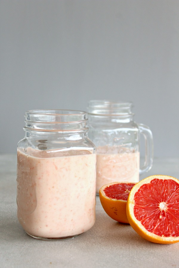 Immune Boosting Grapefruit Banana Smoothie. A nutrient rich, delicious 4 ingredient smoothie that is quick and easy to make. The perfect healthy breakfast or snack!   berrysweetlife.com