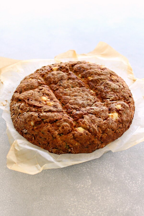 Simple Zucchini Feta Soda Bread. Only 20 minutes to prepare, this easy recipe makes a large loaf of flavoursome, crispy on the outside, soft in the centre savoury bread!   berrysweetlife.com
