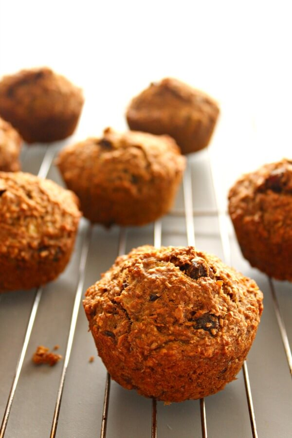 Breakfast Banana Bran Spice Muffins. Naturally sweetened, healthy muffins that take just over 20 minutes to make. Delicious eaten hot out the oven, and the perfect breakfast on the go! | berrysweetlife.com