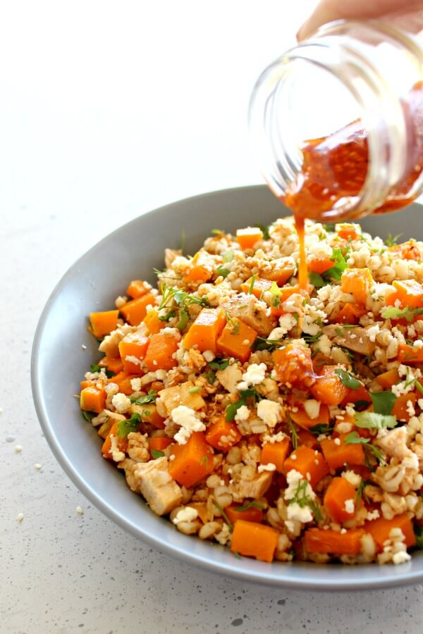 Sesame Chicken Butternut Barley Salad. A simple baked main meal or side dish bursting with flavour, colour and goodness! Freezes well | berrysweetlife.com
