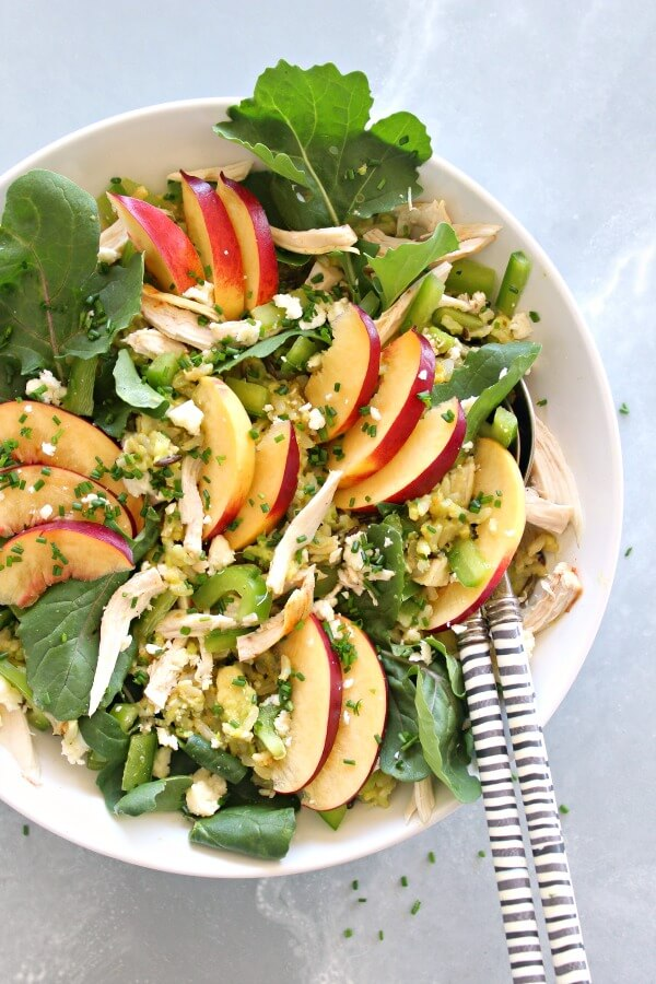 Avocado-Wild Rice Nectarine Chicken Salad. A simple, 15 minute salad that is a complete meal in one bowl. Packed with flavour, creaminess and healthy goodness!   berrysweetlife.com
