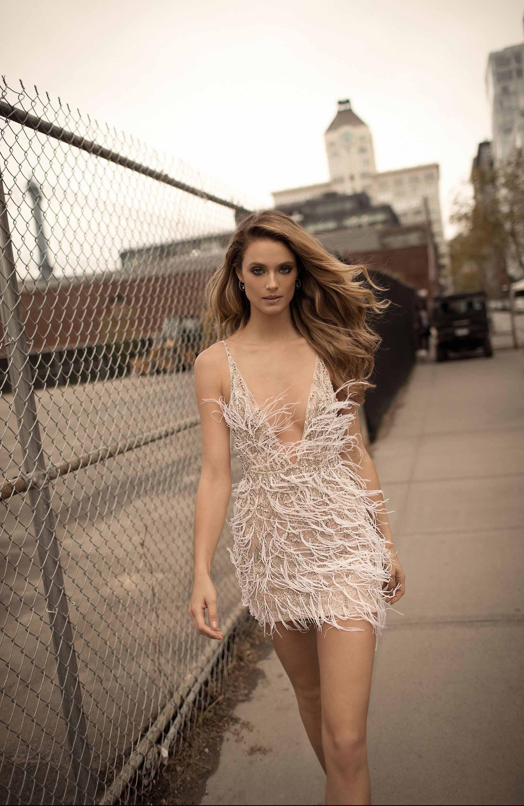 berta spring 2018 bridal spaghetti strap deep v neck full embellishment feather mini dress short wedding dress (16) zv