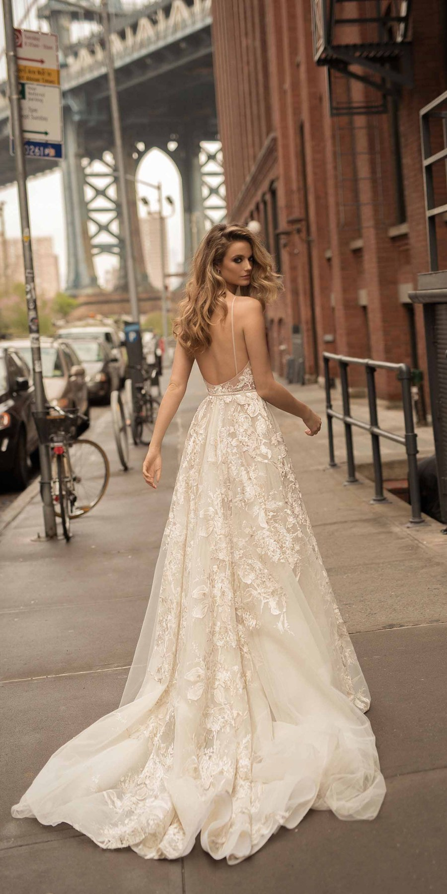 berta spring 2018 bridal spaghetti strap deep plunging sweetheart neckline full embellishment sexy elegant fit and flare wedding dress open scoop back chapel train (6) mv
