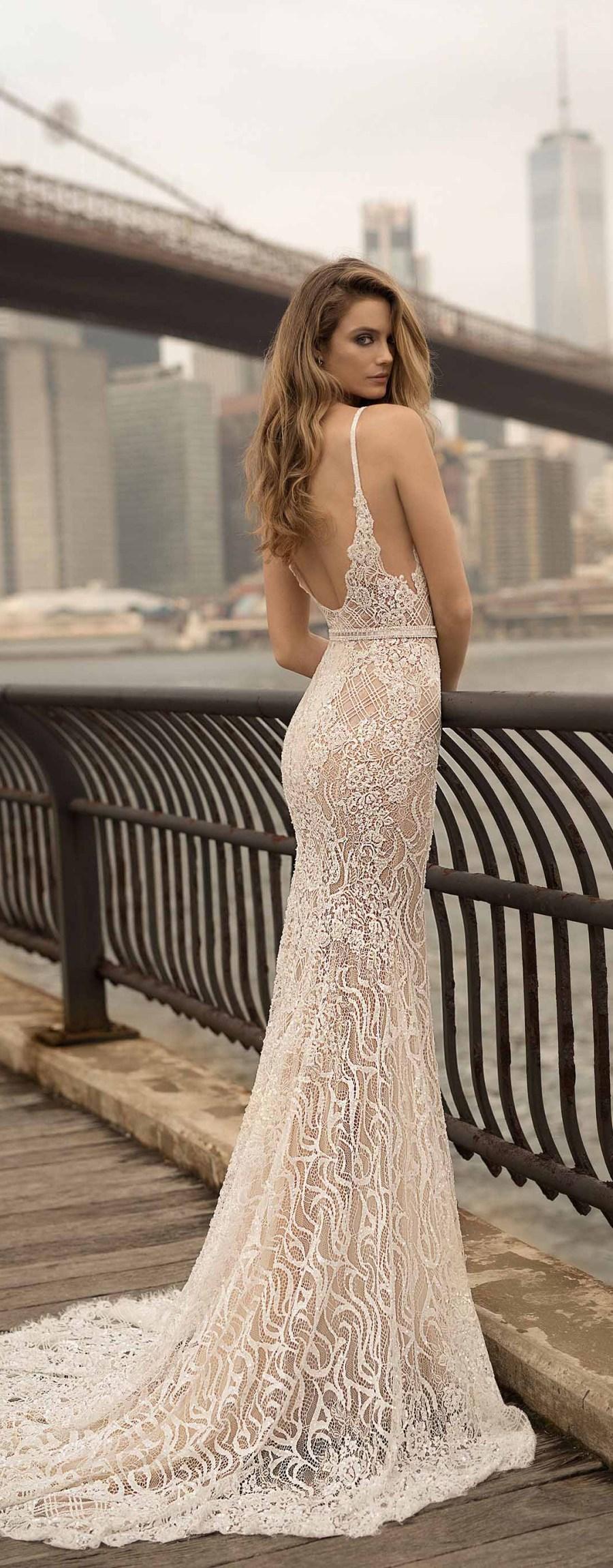 berta spring 2018 bridal sleeveless deep plunging v neck full embellishment sexy a  line wedding dress open back sweep train (14) zv mv