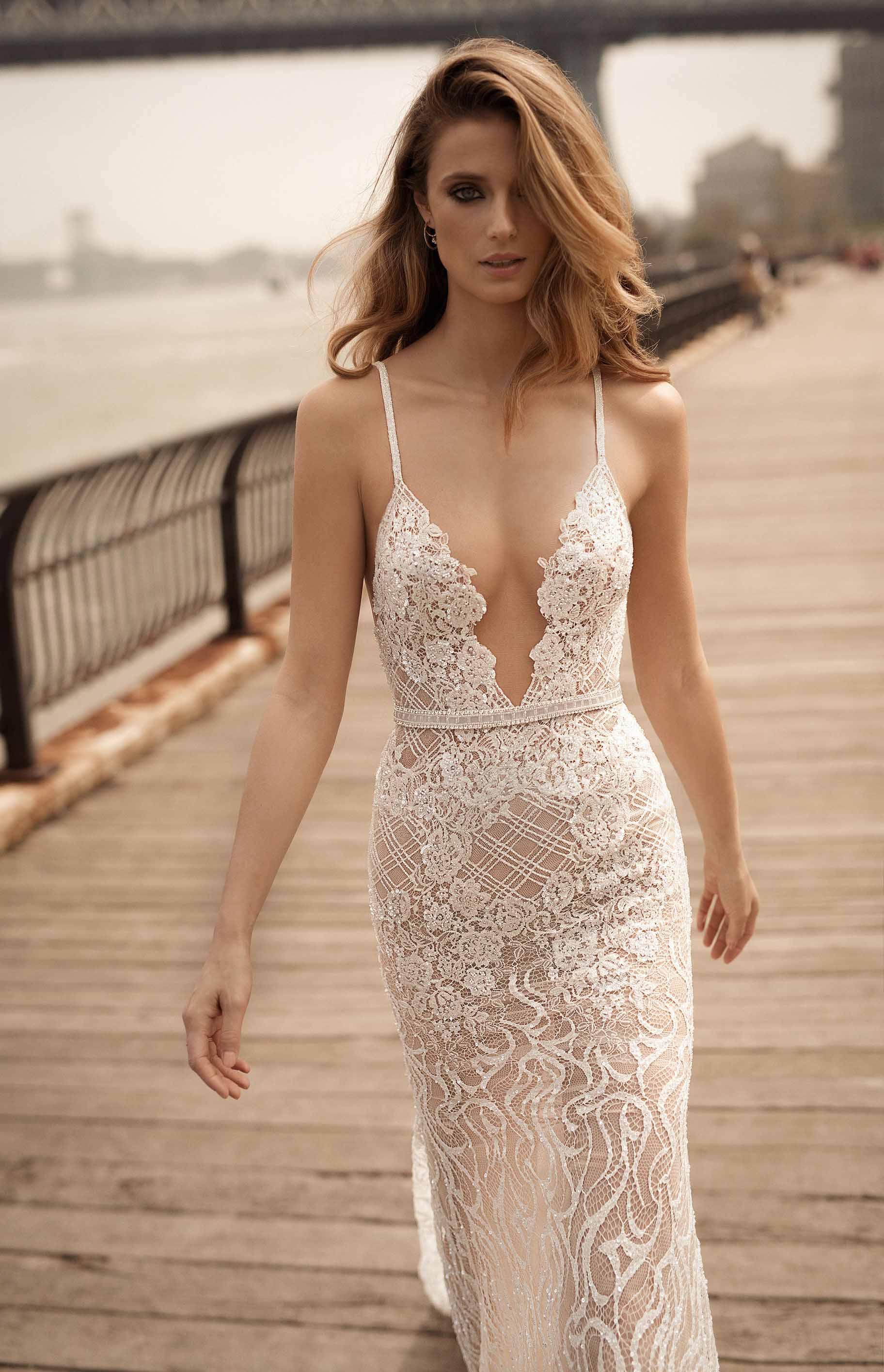 berta spring 2018 bridal sleeveless halter neck deep plunging v neck full embellishment elegant sexy sheath wedding dress open back medium train (13) bv