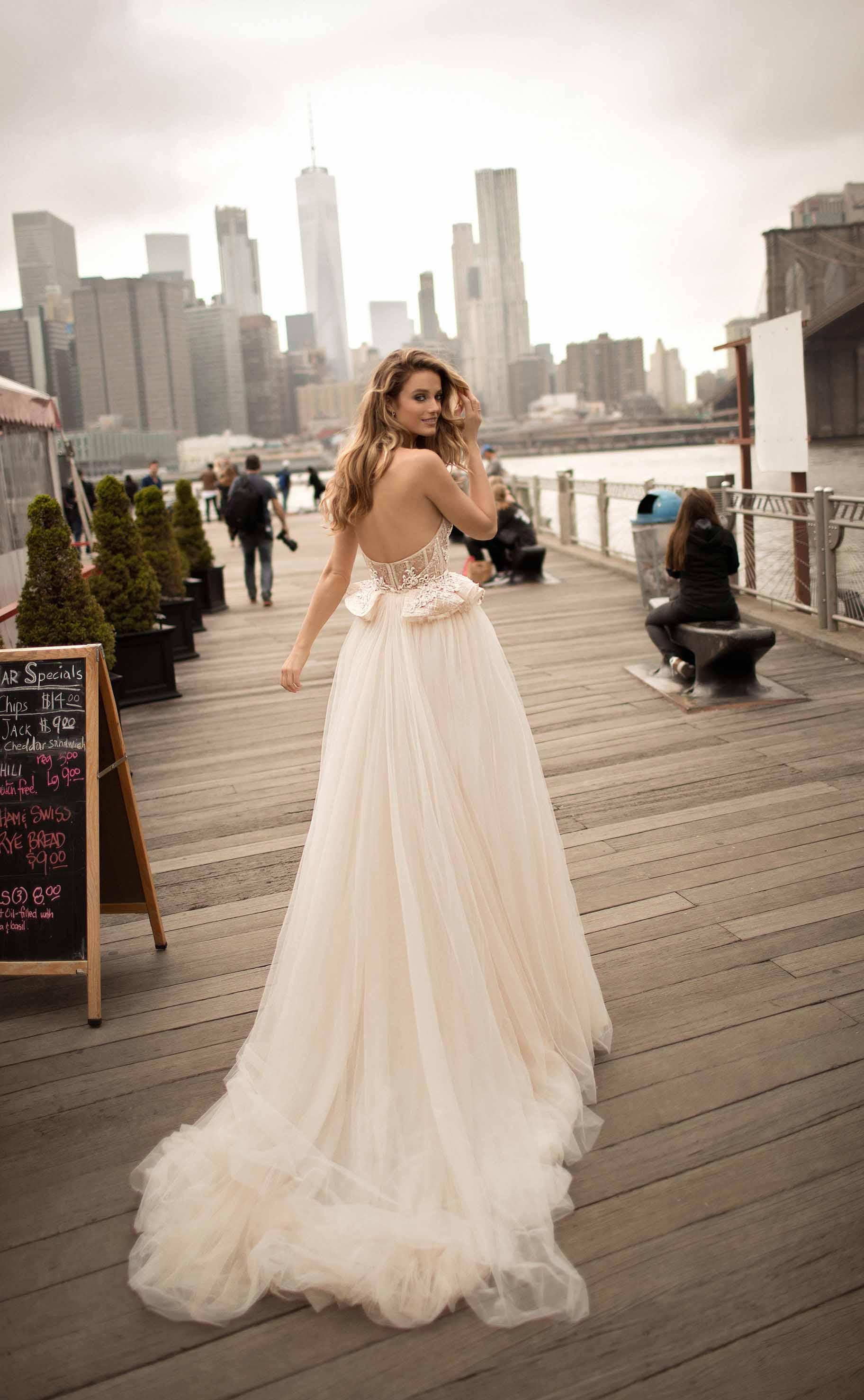 berta spring 2018 bridal long sleeves off the shoulder sweetheart neckline full embellishment sexy elegant fit and flare wedding dress open low back medium train (3) bv