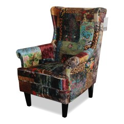 Dining Wingback Chair White Office Chairs Australia Austin Upholstered In Digital Print Patchwork | Berton Furniture