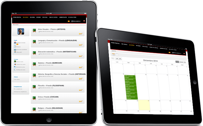 Sistema de administración de cursos en ipad