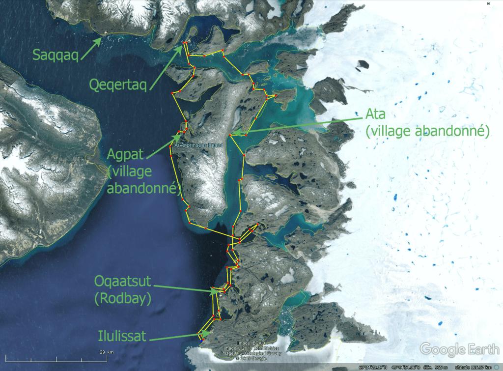 Kayak baie de disko Groenland