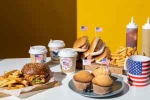 fast food served on table