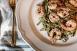 grilled pesto shrimp with linguine pasta