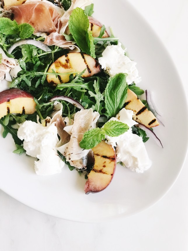 summer salad with burrata and grilled peaches